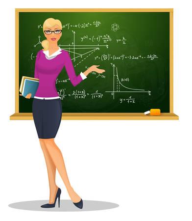 Vector illustratie van Vrouwelijke leraar met bord Vector Illustratie