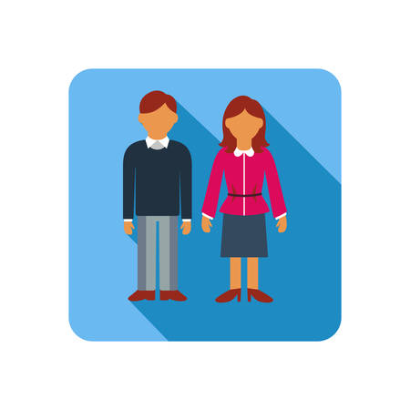 father of the bride: Vector illustration of Couple on a blue background, flat style
