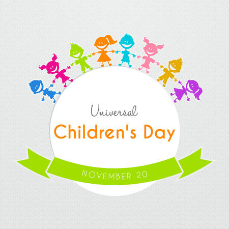 sign  childhood: Vector illustration of Universal Children day poster