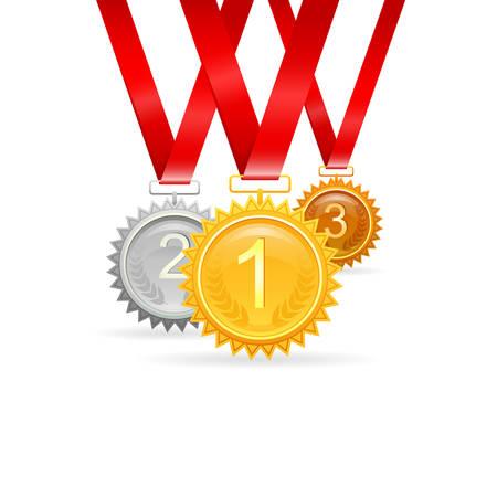 medal ribbon: illustration of Three medals for awards