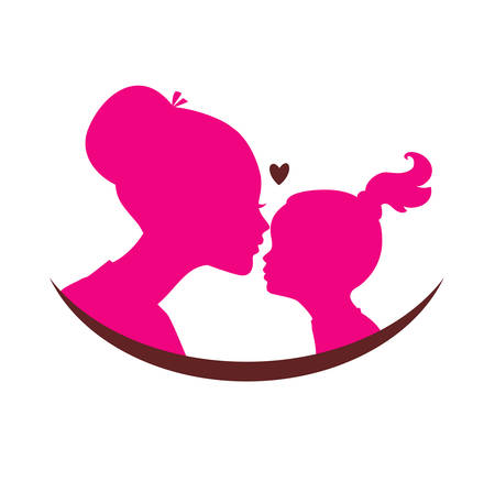 Vector illustration of Mom and daughter love 向量圖像