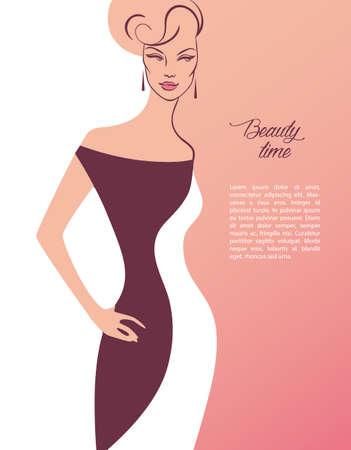 elegant woman: Ilustraci�n vectorial de la mujer hermosa y joven Vectores