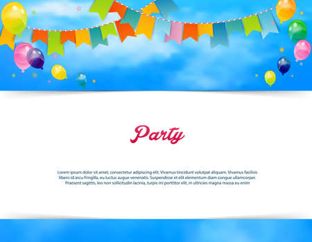 fun festival: Vector illustration of Party banner with flags and ballons