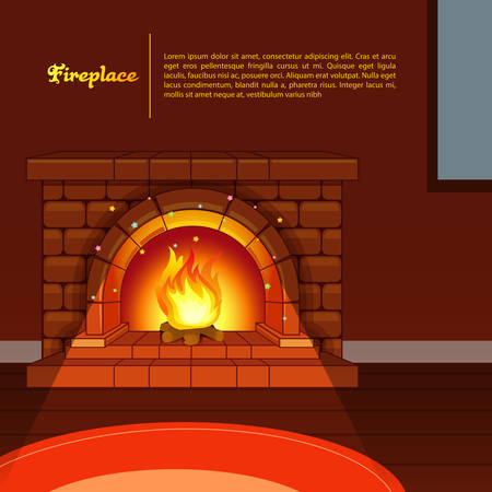 cartoon fireplace: Vector illustration of Fireplace image in room