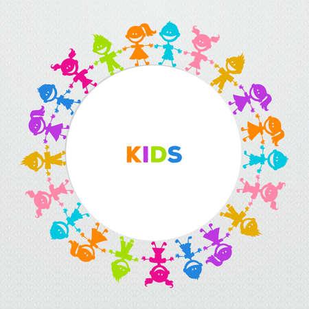 universal love: Ilustración vectorial imagen Amigos de los niños de colores de