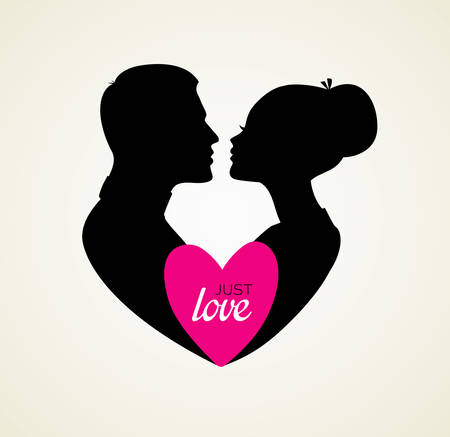Vector illustration of Couples silhouette kissing image
