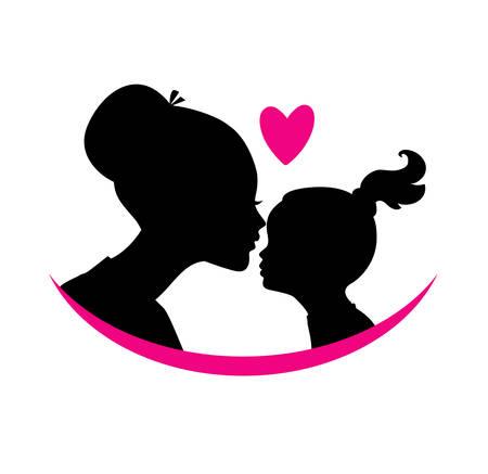 silueta niño: Ilustración vectorial de la mamá y el amor hija Vectores