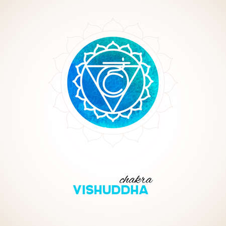 vishuddha: Vector illustration of Color chakra watercolor design Illustration