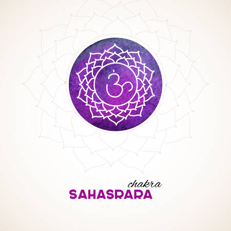 sahasrara: Vector illustration of Color chakra watercolor design Illustration