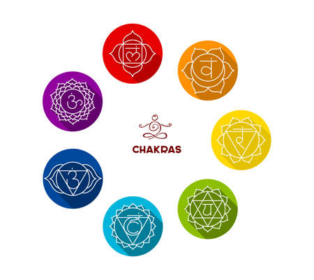 chakra symbols: Vector illustration of Chakra color flat set Illustration