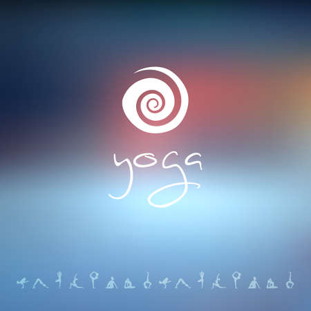 Vector illustration of Blured background with yoga logo Vector