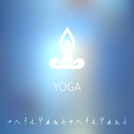 yoga icon: Vector illustration of Blured background with yoga  Illustration