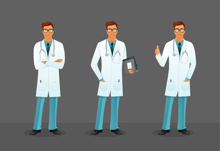 boy doctor: Vector illustration of Doctor in various poses