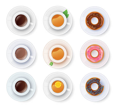 chocolate mint: Vector illustration of Tea and coffee with donuts