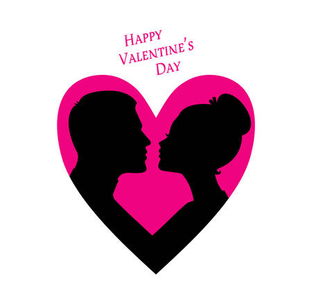 father of the bride: Vector illustration of Happy Valentines day, couple silhouette image Illustration