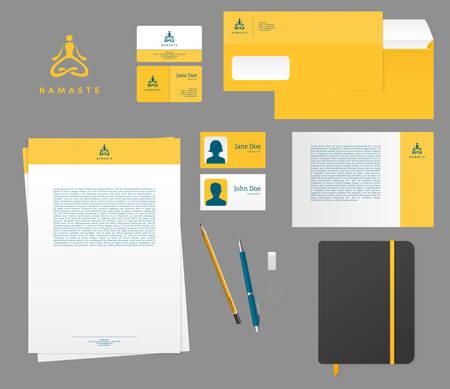 namaste: Vector illustration of Yoga studio branding set Illustration