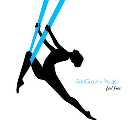 Vector illustration of Anti-gravity yoga poses woman silhouette Stock Illustratie