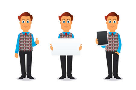young people fun: Vector illustration of Businessman in various poses