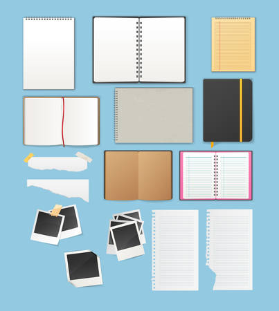 open notebook: Vector illustration of Set include notebooks and papers
