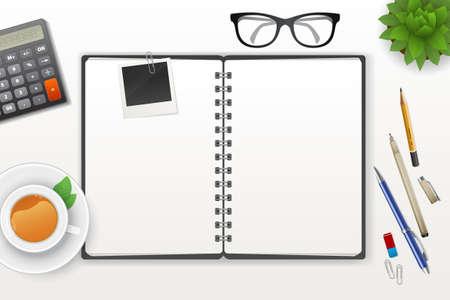 espacio de trabajo: Ilustraci�n del vector del espacio de trabajo con el cuaderno y el t�