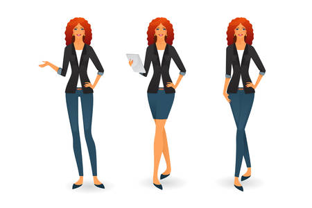 Vector illustration of Businesswoman in various poses Vector