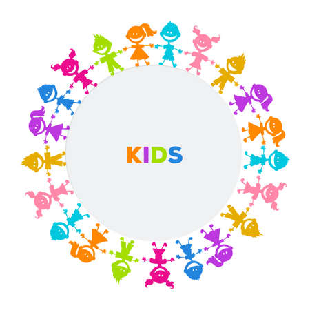 family fun: Vector illustration of Colorful kids friends image Illustration