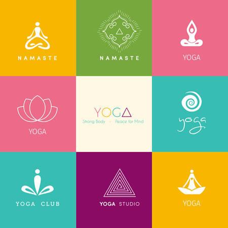namaste: Ilustraci�n vectorial de Conjunto de logotipos para un estudio de yoga