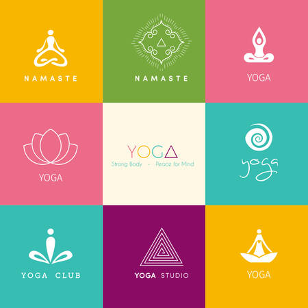 lotus leaf: Vector illustration of Set of logos for a yoga studio