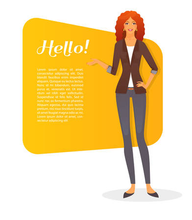 business woman standing: Vector illustration of Beautiful and young woman