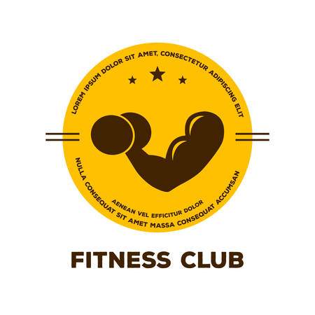 muscle arm: Vector illustration of Logo for fitness club Illustration