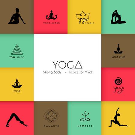 logo medicina: Ilustraci�n vectorial de Conjunto de logotipos para un estudio de yoga