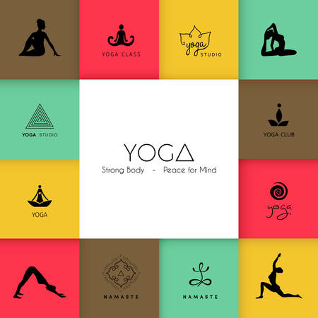 sport logo: Vector illustration of Set of logos for a yoga studio
