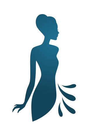 Ilustración vectorial de Isoleted azul silueta de la mujer Vectores