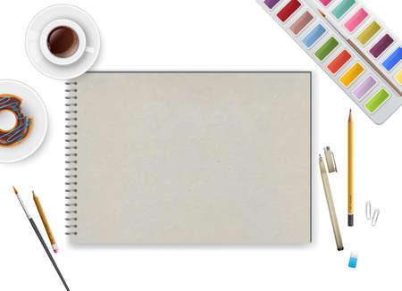 espacio de trabajo: Ilustraci�n del vector del espacio de trabajo de arte con el cuaderno y el caf� Vectores