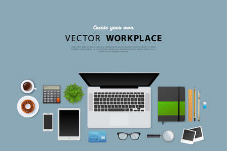 Vector illustration of Workplace with isolated objects
