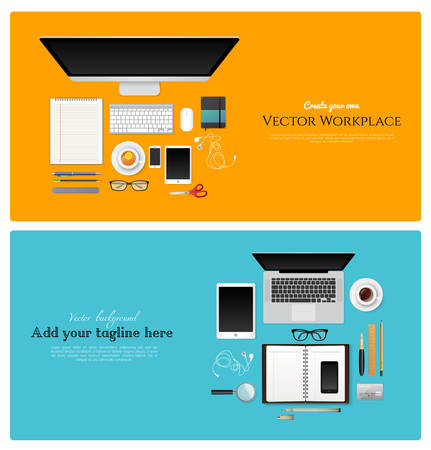 Vector illustration of Workplace with isolated objects Vector
