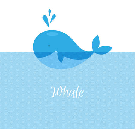 Vector illustration of Blue whale with sea Vector