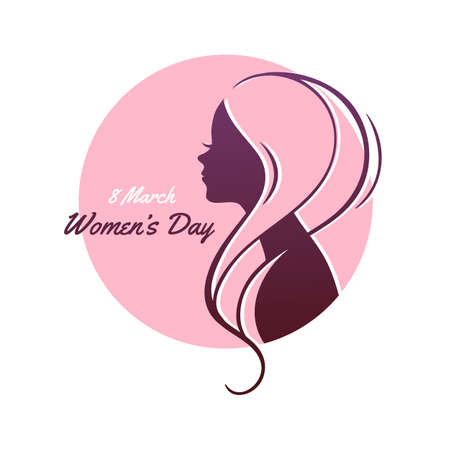 Women's health: Vector illustration of Happy Women Day pink background