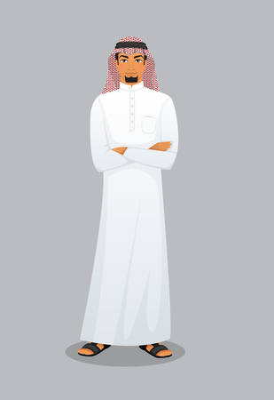middle eastern ethnicity: Vector illustration of Arabic man character image