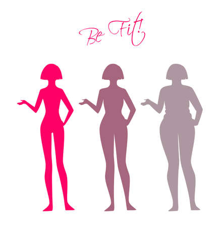 Vector illustration of Be fit, woman silhouette images Vettoriali