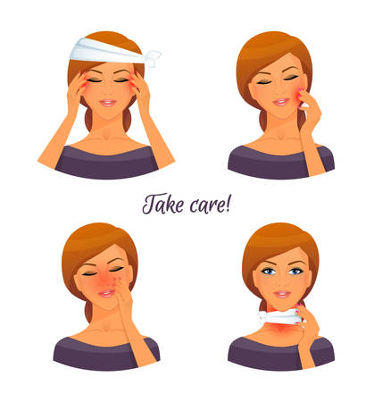 Vector illustration of Sick woman character image