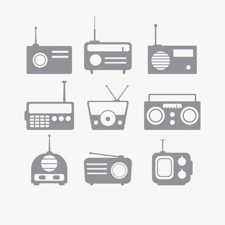 retro radio: Vector illustration of Radio isolated objects set