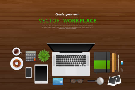 izole nesneleri: Vector illustration of Workplace with isolated objects