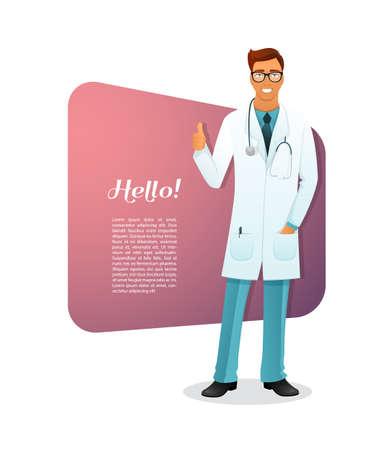 bata de laboratorio: Ilustración del vector del carácter hombre Doctor
