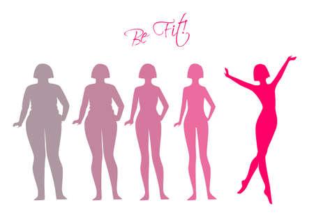 obeso: Ilustración vectorial de Be, imágenes silueta de la mujer fit