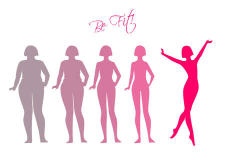 unhealthy diet: Vector illustration of Be fit, woman silhouette images Illustration