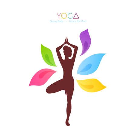 simbolo de la mujer: Ilustraci�n vectorial de la mujer hermosa que hace yoga