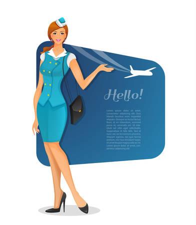 stewardess: Vector illustration of Girl in stewardess uniform Illustration