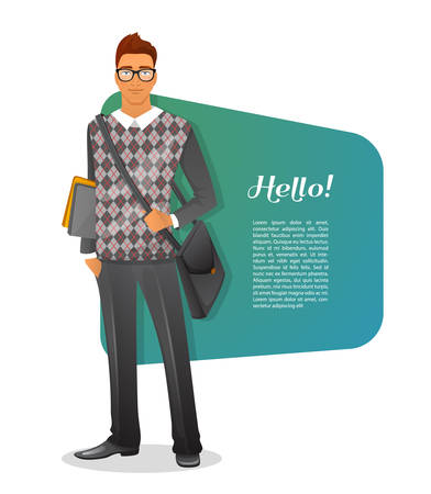clothes cartoon: Vector illustration of Fashion man character image