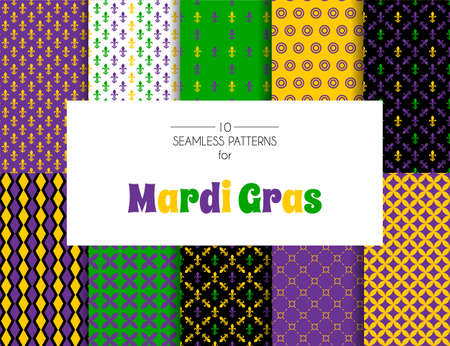 Vector illustration of Mardi Gras pattern backgrounds